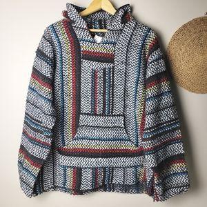 BAJA JOE Mexican Hooded Sweatshirt Striped Unisex